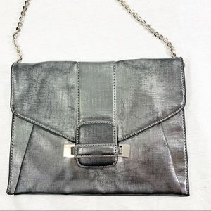 Ivanka Trump Silver Envelope Clutch Chain Strap